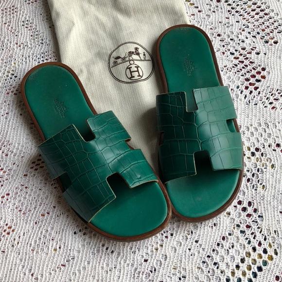 hermes crocodile slippers